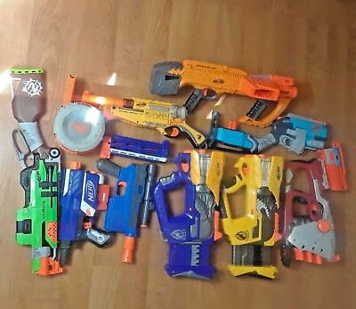 Nerf Large Lot 12 Hasbro Guns Accessories Target Scope Birthday Collection Works
