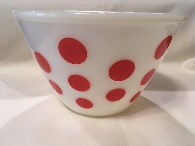 """Vintage 1950s Mid Century Fire King Red Polka Dot Mixing Bowl 9.5"""""""