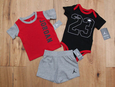 Air Jordan Baby Boy Bodysuit, T-Shirt & Shorts Set ~ Black, Red & Gray ~