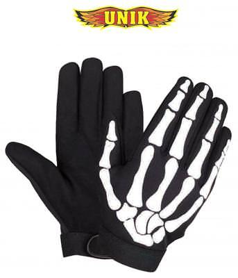 Biker Skeleton Bone Gloves Racing Cycling Motorcycle Mechanics skull  Sizes M-5X