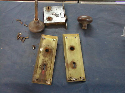 Antique Architectural door knob and trim face plate brass lock