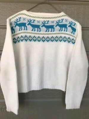 Vintage Jantzen Youth Girls Boys Sweater Sz 8 White Blue Reindeer Deer