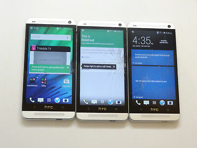 Lot of 3 HTC One M7 PN07130 32GB T-Mobile Smartphones AS-IS GSM #