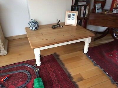 Beautiful hand painted shabby chic solid chunky pine farmhouse coffee table
