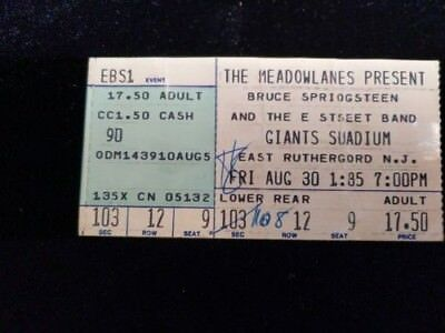Bruce Springsteen & E Street Band Concert Ticket Stub - Born In the USA Tour