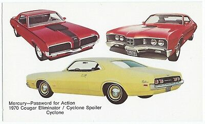 1970 Mercury 3 Models: COUGAR ELIMINATOR, Cyclone Spoiler, Cyclone UNUSED VG+/Ex