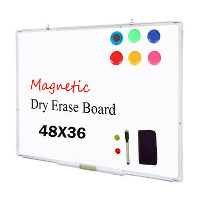 Dry Erase Board - Magnetic White Board 48x36 Aluminum Frame Commercial Marker US