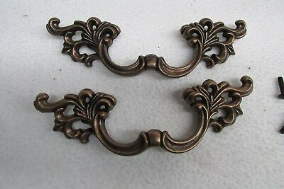 "Vintage Lot Of  2 ""French Provincial"" Large ORNATE Brass Drawer Pulls Handles"