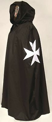 MEDIEVAL KNIGHTS OF  ST. JOHN CAPE -White Maltese X, Costume, Warrior, In Stock