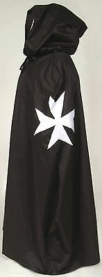 MEDIEVAL KNIGHTS OF ST. JOHN CAPE -Maltese Cross  Warrior, Costume In Stock New