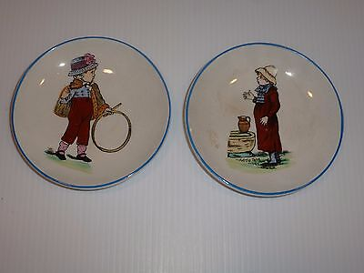Vintage Stone China Pair Saucers-Boy and Girl
