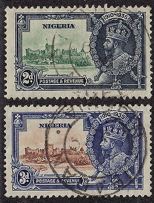 NIGERIA Used Scott # 35-36 KGV Silver Jubilee - 3d small thin on side (2 Stamps)