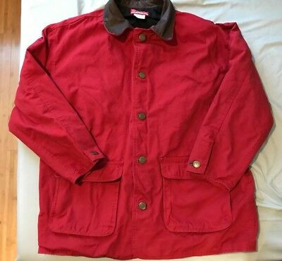 Vintage Marlboro Country Store Leather Collar Red Barn Chore Coat Jacket L