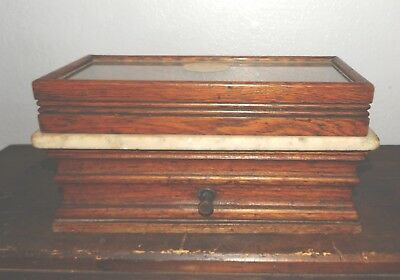 Antique Apothecary Balance Scale Henry Troemner Oak Marble Glass