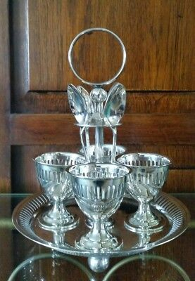 Vintage Silver Plated Egg Cup Holder Server ~ Cruet ~ 4 Egg Cups ~ 4 Demi Spoons