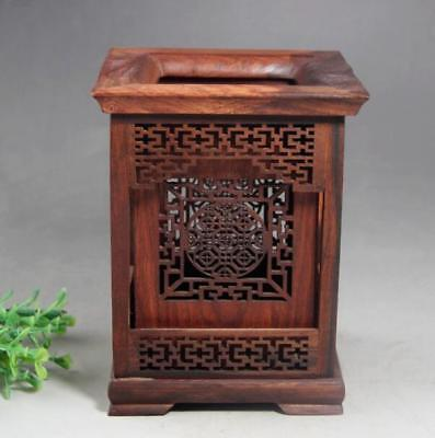 Chinese rosewood Wood Carving Hollow Out Brush Pot pencil Holder
