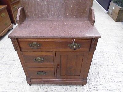 walnut 3 drawer 1 door marble top washstand with colorful marble