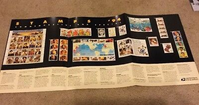 """USPS Post Office Stamp Poster 1994 stamps Advertising 1994 25"""" x 12"""""""