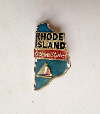 RHODE ISLAND Ocean State Lapel Pin Pinback * Vintage * Combine Shipping!