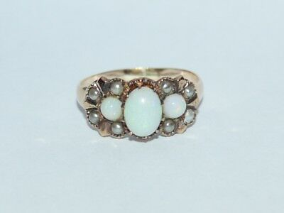 ANTIQUE ART DECO 14K ROSE GOLD BEAUTIFUL OPAL SMALL PEARL FINE  Ring 1920