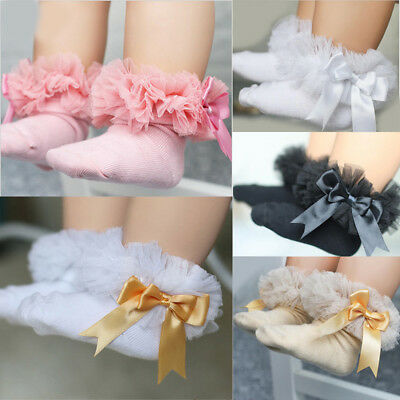 UK Baby Girls Kids Toddler Lace Up Bowknot Ruffled Frilly Trim Ankle Socks Short