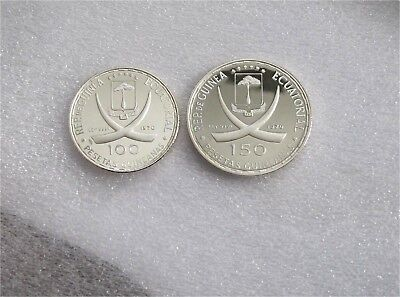 Equatorial Guinea 100 & 150 Pesetas Silver Coin Crown Proof Low Mintage km#16