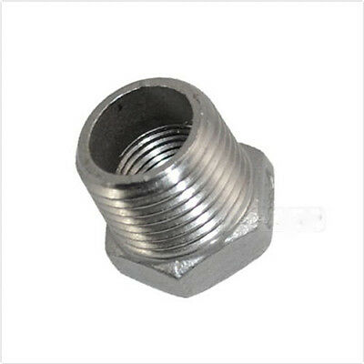 """1/2"""" Male x 3/8"""" Female Thread Reducer Bushing Pipe Fitting SS Stainless Steel"""