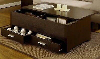 Slide Top Wood Coffee Table With Under Top Storage And Two Drawers, Espresso