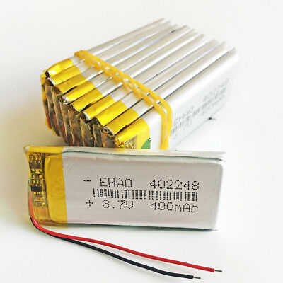 10 pcs 400mAh 3.7V Lipo Polymer Rechargeable Battery For GPS Bluetooth 402248