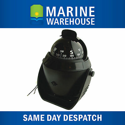 Marine Compass 65mm Black - 12V Backlit 360 Degree Viewing W/ SS Mounting 308373
