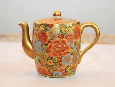 Japanese Satsuma Pottery Teapot Signed Bizan Cir 1900 (No Chips-Strong Colors)