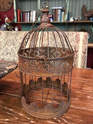 "Decorative Metal Bird Cage 13""X7.5"" Tall Top Opens Weathered Rustic"