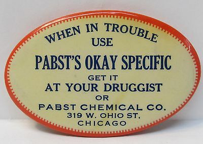 circa 1910 PABST'S OKAY SPECIFIC quack patent medicine celluloid pocket mirror *