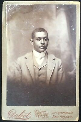 ANTIQUE 1880s CABINET CARD Photo AFRICAN AMERICAN Black MAN from NEW ORLEANS, LA