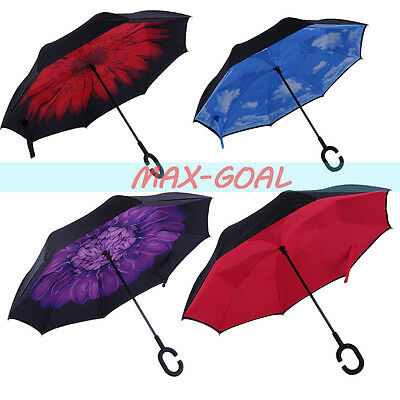 Inverted Umbrella C Handle Double Layer Windproof Folding Upside Down Reverse BS