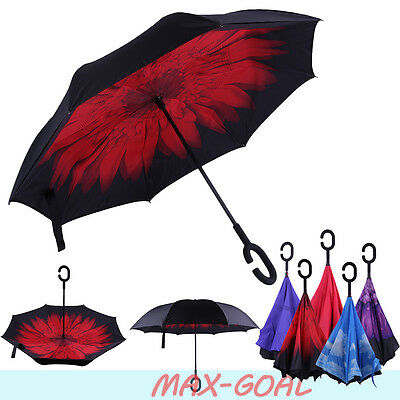 C-Handle Wind-Proof  Inverted 2 Layer Upside Down/Reverse Opening Umbrella BK