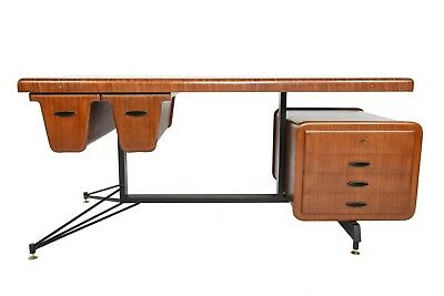 Rare Carlo Ratti Italian Executive Mid Century Desk in Bent Mahogany Ply