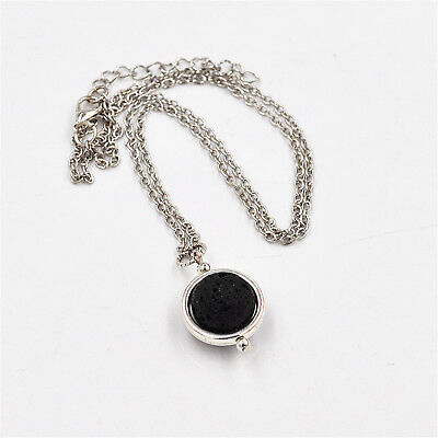 Lava Stone Rock Heart Pendant Necklace Yoga Aromatherapy Diffuser Silver Plated