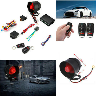 1-Way Car Alarm Protection Security Siren System 2 Remote Control Keyless Entry