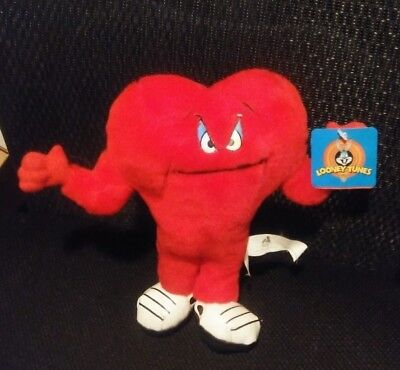 "Looney Tunes GOSSAMER red heart monster 9 1/2"" stuffed animal plush 1997 WB"