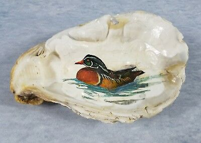 Duck Art Oyster Shell Painting Greenhead Mallard Duck Collectors Vintage 1992