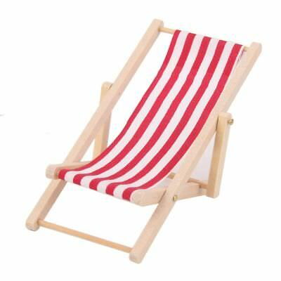 Beach Chair Miniature Wooden Lounge Decoration Pretend Play Furniture Toys