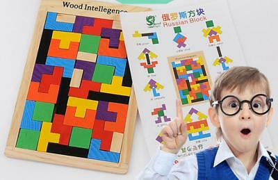 Wooden IQ Game Jigsaw Intelligent Variety Blocks Puzzle Baby Kid Toy Cool