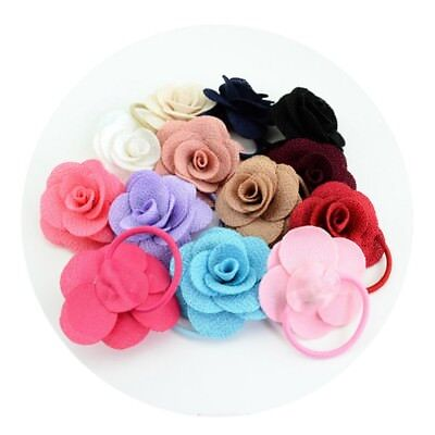 13Pcs Baby Girl Elastic Hair Band Rope Rose Flower Ponytail Holder Accessories