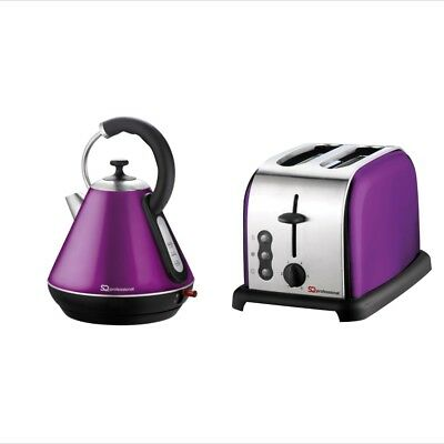 1.8L Cordless Electric Kettle and 2 Two Slice Wide Slot Toaster Set Purple