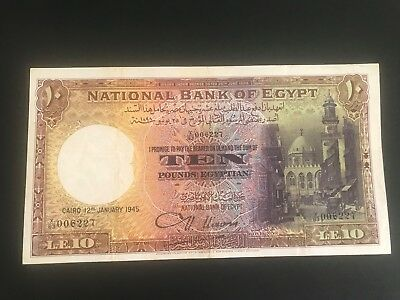 Egypt p-23b, 10 pounds 1945  Sign.Nixon VF+