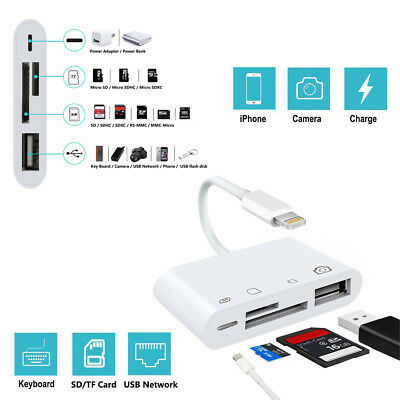 For iPhone X 6 7 8p iPad to SD Card Reader USB2.0 Camera Apple Sync Adapter hub