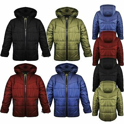 New Kids Boys Childrens Thick Padded Hooded ZIP Up Puffer Bubble Jacket Coat TOP
