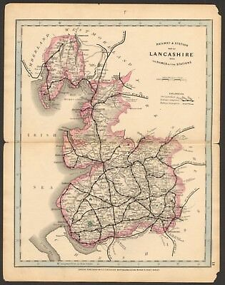 1864 Antique Map- Railway And Stations, Lancashire, Garstang, Chorley, Liverpool