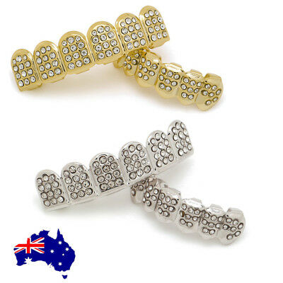 Hip Hop Teeth Gold Silver Plated Top & Bottom Set Grillz w/ Diamond Mouth Grills